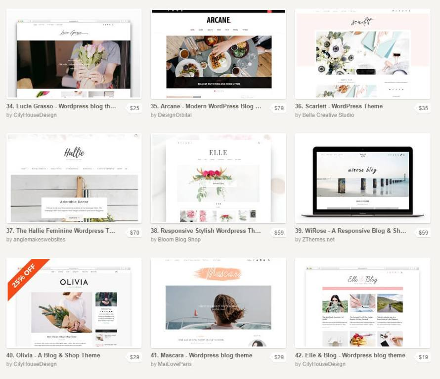 "Creative Market WordPress Themes from ""How to Start a Blog to Sell Your Art or Handmade Products"" on CreatingBeautifully.com"