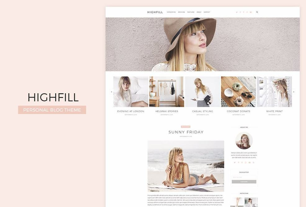 50 Modern, Minimal, Feminine WordPress Blog Themes: Highfill