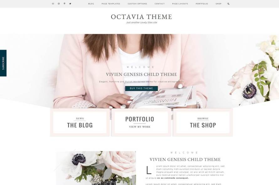 50 Modern, Minimal, Feminine WordPress Blog Themes: Octavia