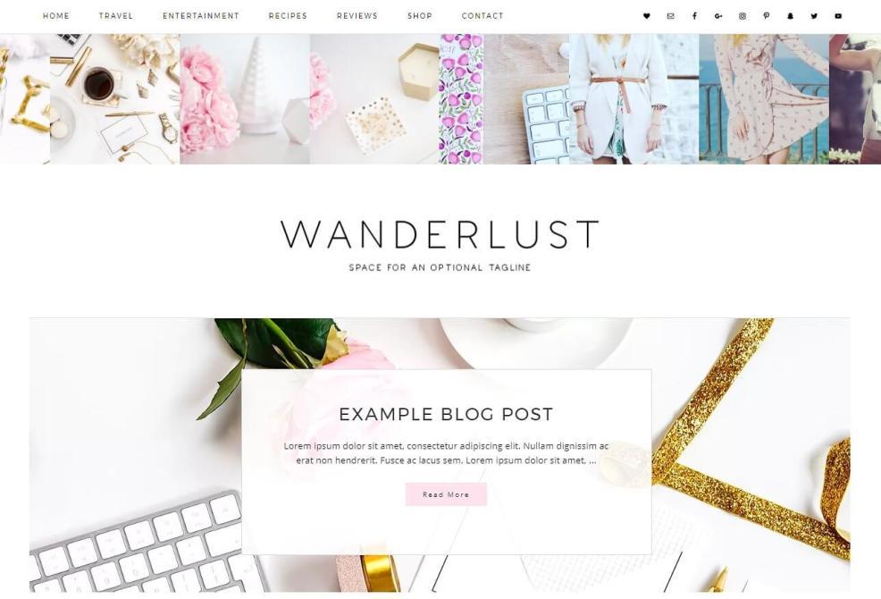 50 Modern, Minimal, Feminine WordPress Blog Themes: Wanderlust
