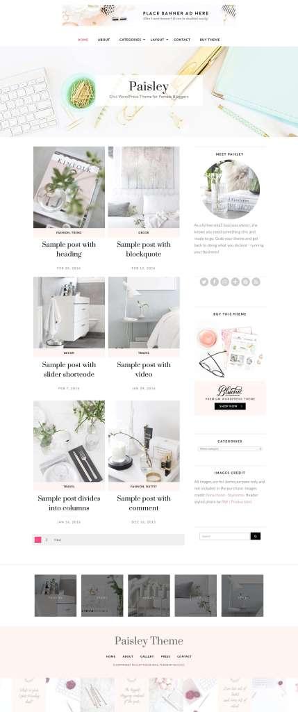 50 Modern, Minimal, Feminine WordPress Blog Themes: Paisley