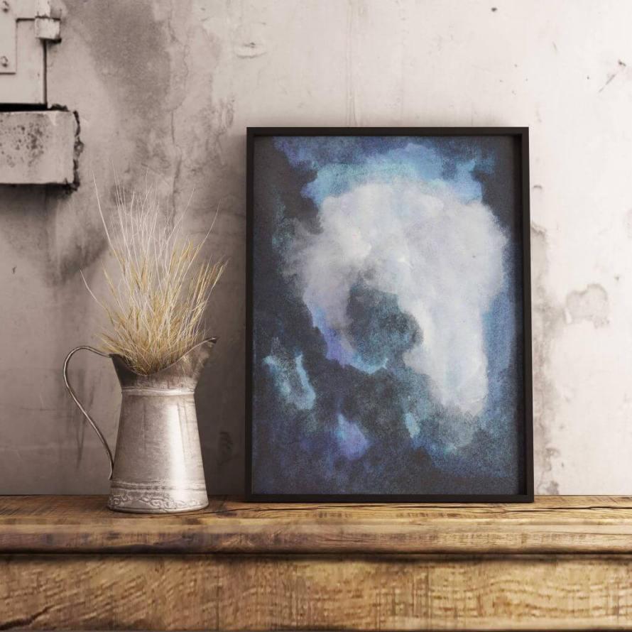 Meet the Artist: Adri Luna Studio on CreatingBeautifully.com - Large Blue Art Print by Adri Luna.