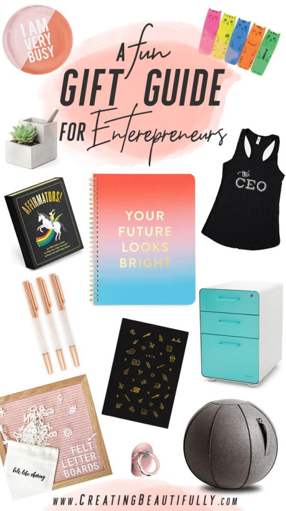 This really IS a fun gift guide for entrepreneurs! I found something for my favorite #girlboss but there's stuff for guys, too! (More than pictured!) #giftguide