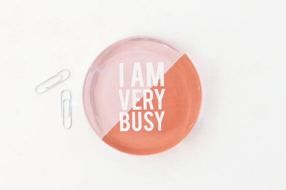 "Get this ""I am very busy"" paperweight for your favorite boss! And check out this fun gift guide for entrepreneurs on www.CreatingBeautifully.com"