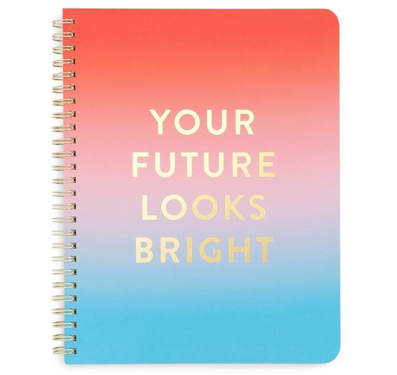 """Send a positive message with this """"Your Future Looks Bright"""" Notebook. See more in this Fun Gift Guide for Entrepreneurs at www.CreatingBeautifully.com"""