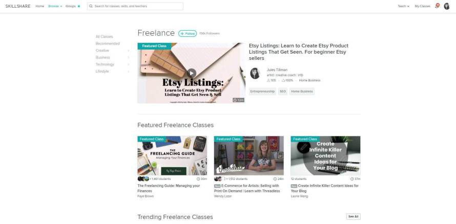 """The class """"How to Write Etsy Product Listings That Get Seen and Convert"""" was featured on Skillshare as part of the top 1% of classes there!"""