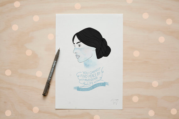 """Selling Art on Etsy, Meet the Artist Alexis Winter on CreatingBeautifully.com""""Virginia Woolf"""" illustration by Alexis Winter"""