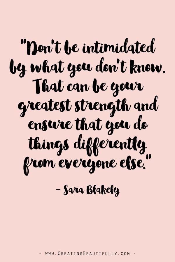 Inspiring Quotes from Powerful Women Entrepreneurs on CreatingBeautifully.com #inspiringquotes #quotesfromwomenentrepreneurs #girlbossquotes #SaraBlakely