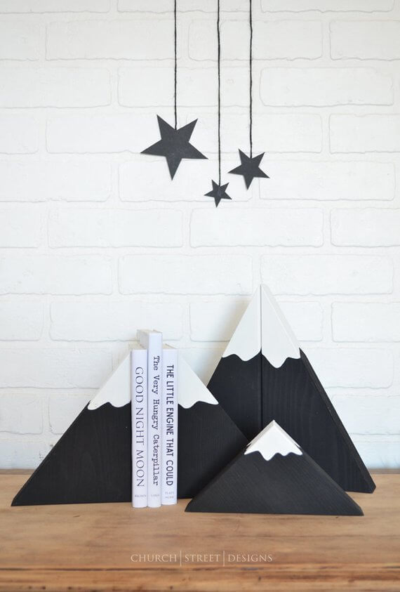 Shop Small This Holiday Season: Gift some Wooden Mountain Bookends from ChurchStDesigns on Etsy for under $25! #giftguide #shopsmall #shophandmade