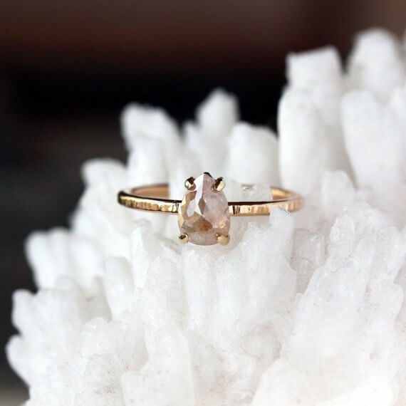Shop Small This Holiday Season: Gift this Rose Cut Pear Natural Diamond Ring by ShopClementine on Etsy for over $100. #giftguide #shopsmall #shophandmade