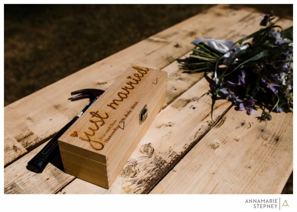 Wine box at Jess & Dan's wedding with Sussex wedding celebrant Claire Bradford of Creating Ceremony
