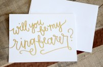 White Cardstock with Gold Glitter Embossing: Will You Be My Ringbearer?