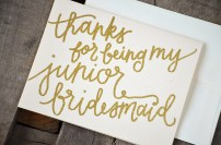 Bridesmaid Bridal Party Thanks For Being My Junior Bridesmaid Card by Your New Friend Sam - Cream Cardstock with Gold Glitter Embossing