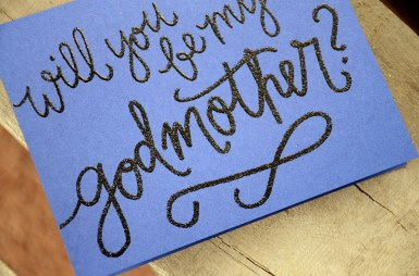 Godmother Invitations by Your New Friend Sam - Navy Cardstock with Black Glitter Embossing