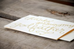 Thanks Godfather Greeting Card by Your New Friend Sam - Cream Cardstock with Gold Glitter Embossing