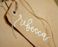 Your New Friend Sam Calligraphy Handwritten Name Tag Wedding Placecards Embossed 3