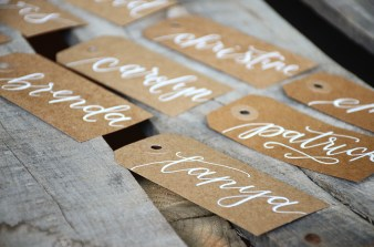 Large Kraft Tags with White Ink, Calla Lily Lettering Style