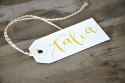 Small White Tags with Gold Ink, Honeysuckle Lettering Style