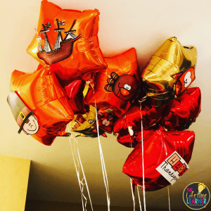 balloons with thanksgiving items on them
