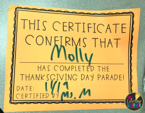 certificate that says this certificate confirms that name has completed the thanksgiving day parade with a date and certified by line