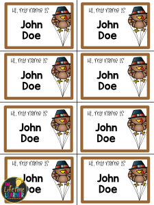 thanksgiving themed name tags