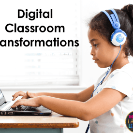Girl with computer with digital classroom transformations in text