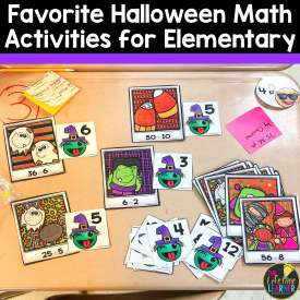 halloween math activities on a desk with the title favorite halloween math activities for elementary