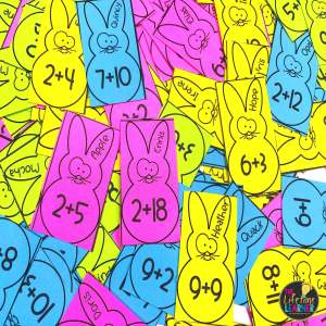 bunny task cards with math facts