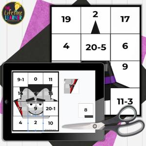 halloween math activities for elementary showing secret picture tiles