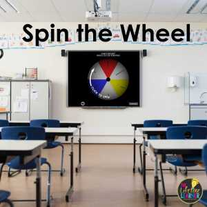 classroom with a whiteboard that shows a spin the wheel game during classroom review games