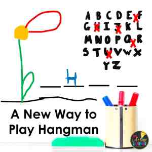 hangman with a flower instead of a hangman and the words say a new way to play hangman