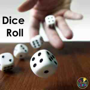 an example of classroom review games with hand throwing dice