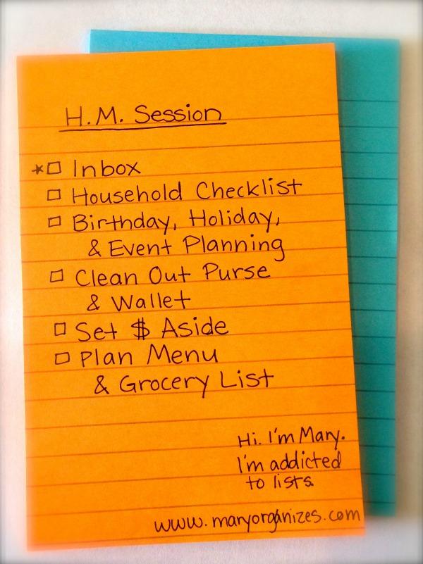 HM Session Checklist