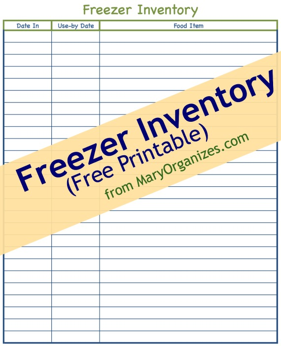 image about Pantry Inventory Printable identified as Freezer Pantry Free of charge Printable -