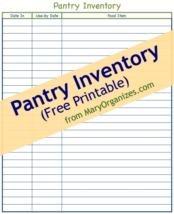 Pantry Inventory Free Printable