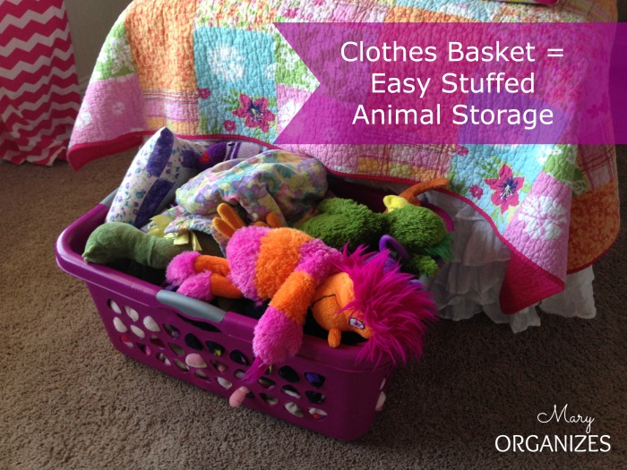 Clothes Baskets make easy stuffed animal storage