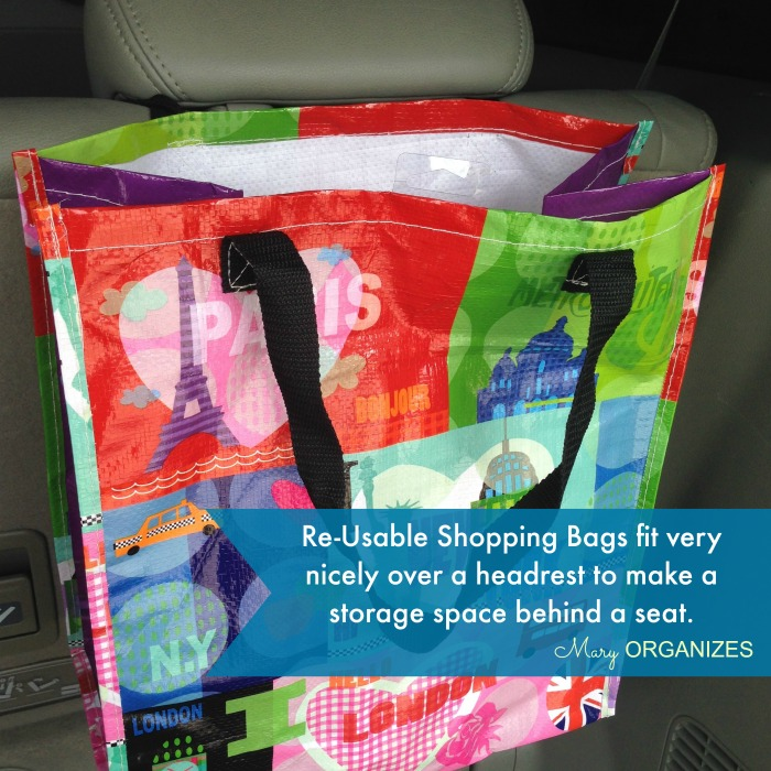 Reusable shopping bags make great car storage
