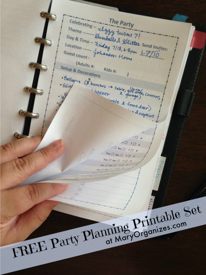 Party Planning Printable Set - how I use them