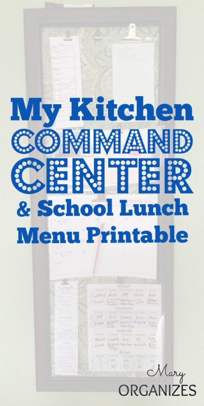 My Kitchen Command Center and School Lunch Menu Printable