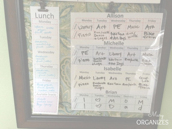 School Lunch Menu and Activity Schedule