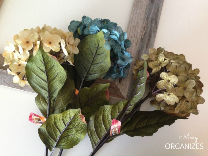 These were the silk hydrangeas I used for the wreath