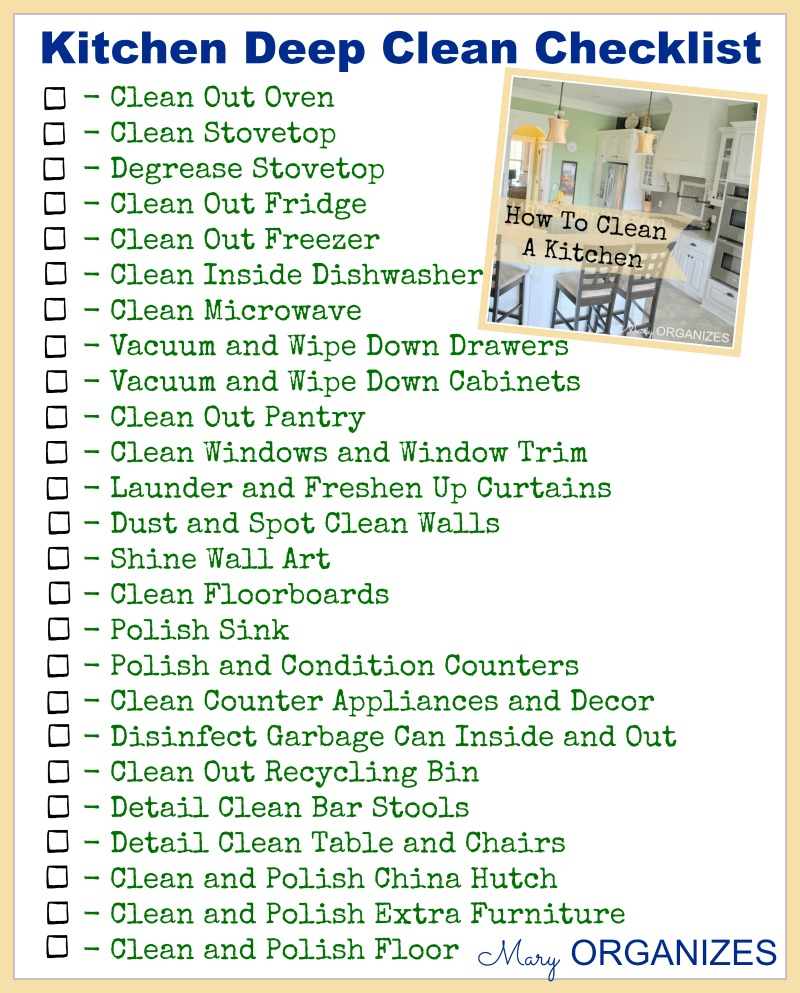 Kitchen Deep Clean - Checklist