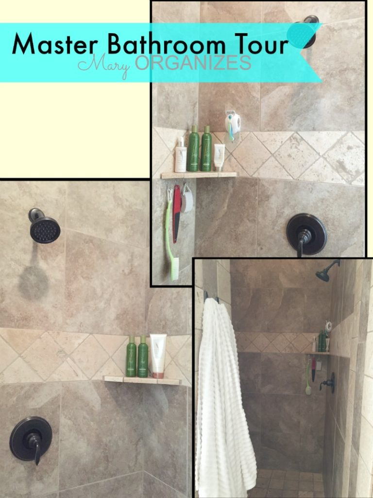 Mary ORGANIZES Master Bathroom Tour - double headed shower