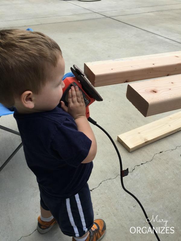 Semi-DIY Garage Mud Bench Area - Cougar helped with sanding