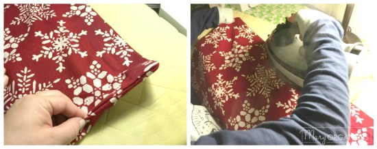 Pillow Covers Step 6 - Turn outside right and iron the seams down