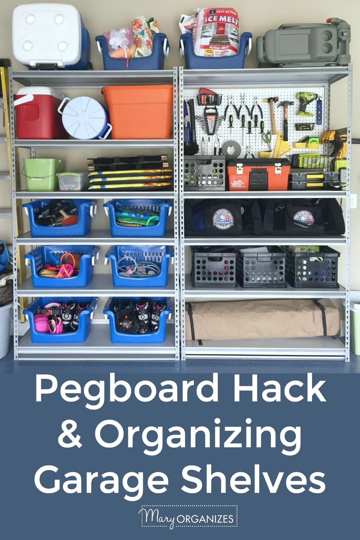 Pegboard Hack and Organizing Garage Shelves -v