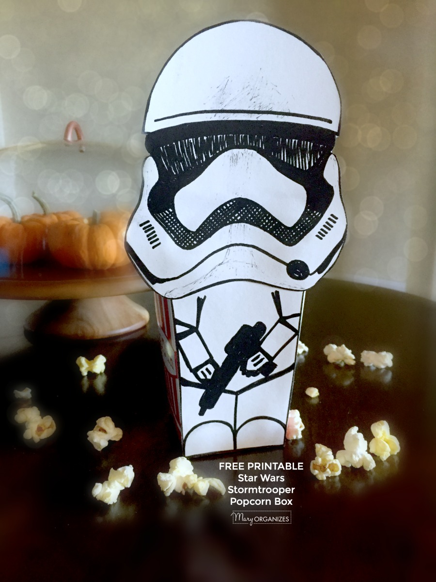 graphic relating to Stormtrooper Printable identified as STAR WARS Stormtrooper Popcorn Box Totally free PRINTABLE