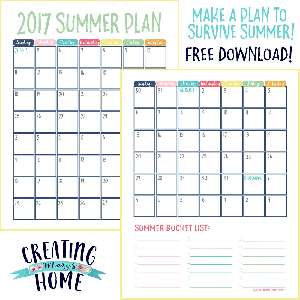 picture relating to Bucket List Printable called Endure Summer time With a System - Absolutely free Calendar and Bucket Record