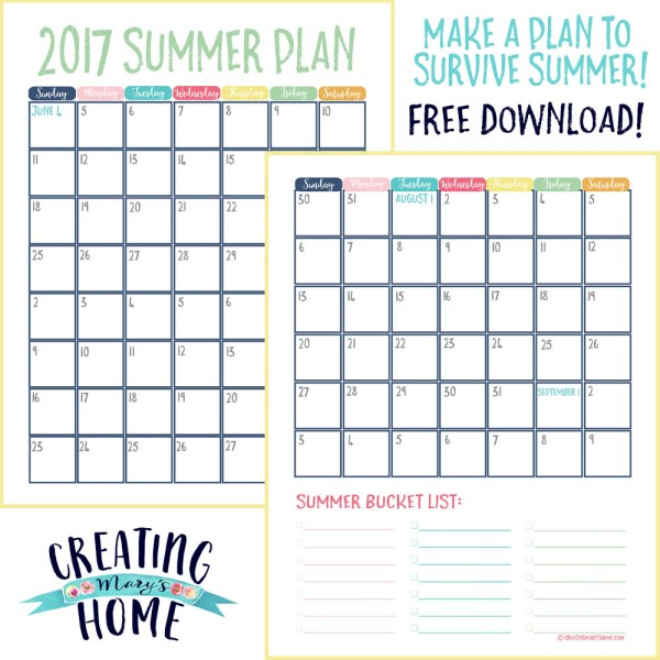 Survive Summer With a Plan – Free Calendar and Bucket List Printable