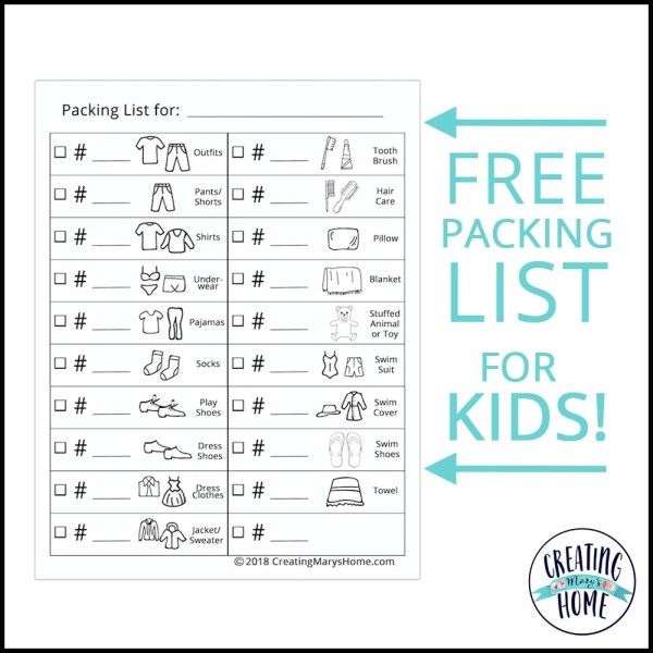 Packing List for Kids